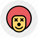 buffoon, circus, clown, jester, joker, joker face icon