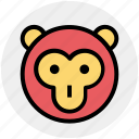 baboon face, cartoon animal, circus, macaque, monkey, monkey face icon