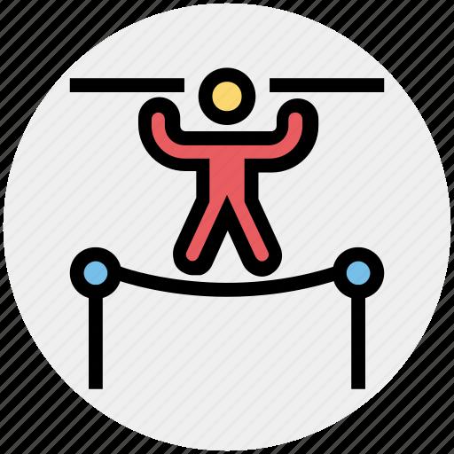 acrobat, acrobatic, balancing, circus, performance, trapeze icon