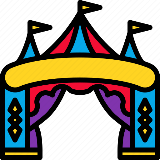 carnival, circus, entertainment, entrance, festival icon