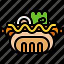 bread, food, hotdog, meal, mustard, sandwich, sausage icon