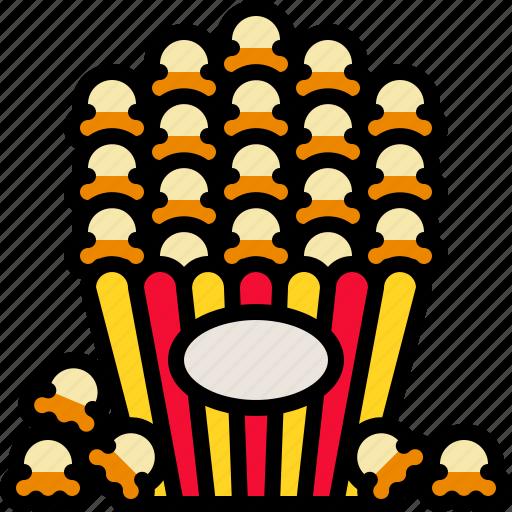 cinema, corn, delicious, popcorn, snack icon