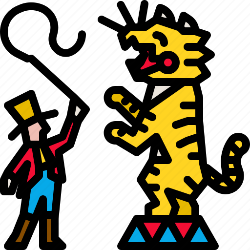 carnival, circus, performance, show, striped, tiger icon