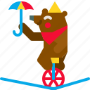 bear, bicycle, carnival, circus, cute, performance, show icon