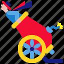 cannonball, carnival, circus, festival, human, stuntman icon