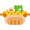 bread, food, hotdog, meal, mustard, sandwich, sausage icon