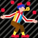ball, carnival, circus, festival, juggle, juggler, juggling icon