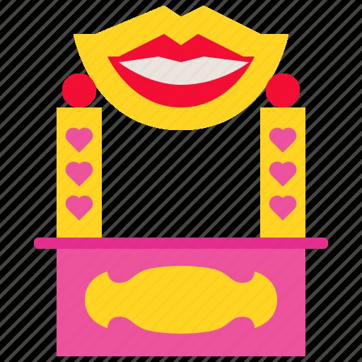 carnival, festival, heart, kiss, kissingbooth, love, romance icon
