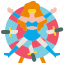 carnival, circus, danger, knifethrower, throw icon
