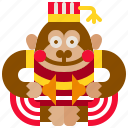 ape, carnival, chimpanzee, circus, cymbals, monkey, toy icon