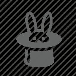 amusement, animals, focus, hat, magic, rabbit, trick icon