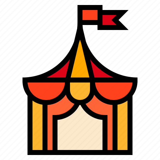 circus, flag, tent icon