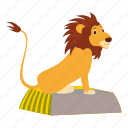 africa, cartoon, circus, circus lion, lion, logo, sit icon