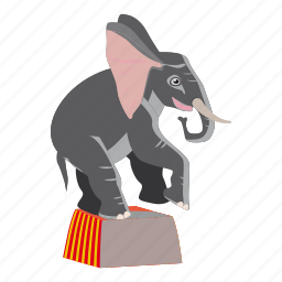 animal, cartoon, circus, circus elephant, elephant, logo, performance icon