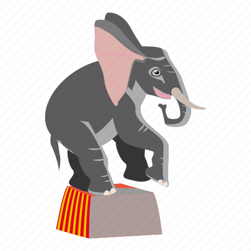 animal, cartoon, circus, circus elephant, elephant, logo, performance icon