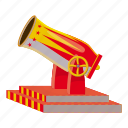 artillery, ball, battle, cartoon, circus, circus cannon, logo icon