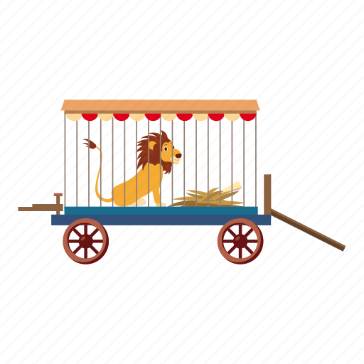 africa, cartoon, circus, lion, lion in cage, logo, sit icon