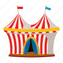 activity, cartoon, circus, leisure, logo, outdoor, tent icon