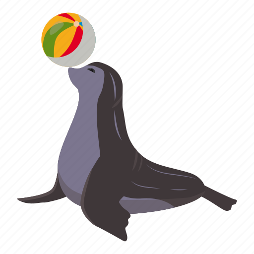animal, aqua, aquatic, balance, cartoon, logo, sea bear icon