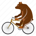 bear, bicycle, cartoon, circus, circus bear, logo, wheel icon