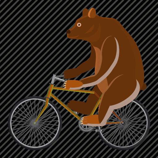 bear, bicycle, cartoon, circus, circus bear, logo, wheel icon