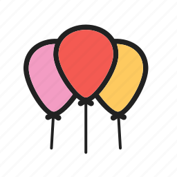 balloons, celebrate, celebration, circus, colorful, happy, red icon