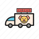 circus, colorful, entertainment, fun, joy, street, van icon