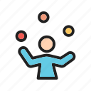 balls, clown, fun, funny, juggle, juggling, person icon