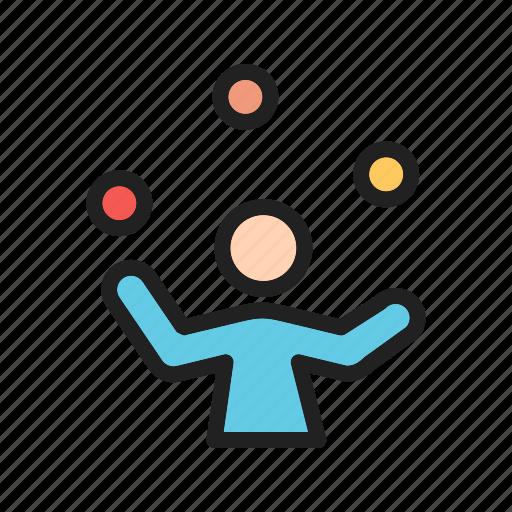 balls, clown, fun, funny, juggle, juggling, person icon
