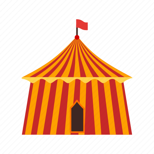 big, circus, colorful, event, flag, fun, tent icon