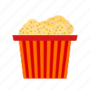 circus, corn, food, popcorn, snack, tasty, white icon