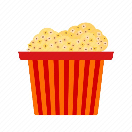 circus, corn, food, popcorn, snack, tasty, white icon