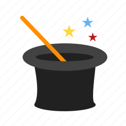 hat, magic, magical, magician, stick, wand icon