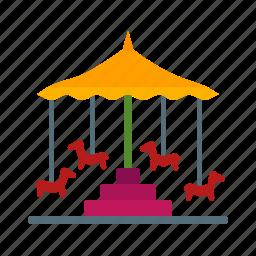 circus, fun, horse, park, ride, round, trip icon