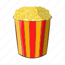 box, cartoon, corn, food, movie, popcorn, snack icon