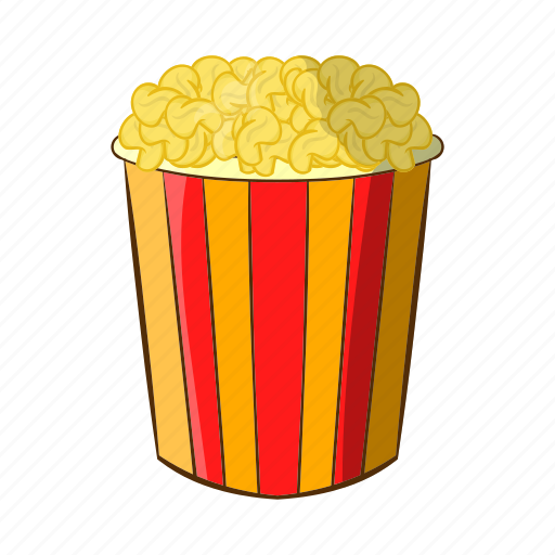 box, cartoon, corn, food, movie, popcorn, snack icon