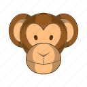 animal, ape, cartoon, chimpanzee, head, mammal, monkey icon