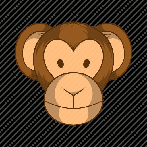 animal, ape, cartoon, chimpanzee, head, mammal, monkey icon