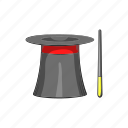 cartoon, entertainment, hat, magic, magician, trick, wand icon