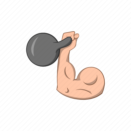 arm, cartoon, dumbbell, fitness, human, muscle, weight icon