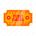 carnival, cartoon, circus, entertainment, event, performance, ticket icon