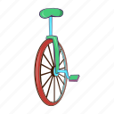 bicycle, cartoon, circus, pedal, transport, unicycle, wheel icon