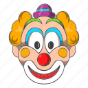 carnival, cartoon, circus, clown, costume, hat, head icon