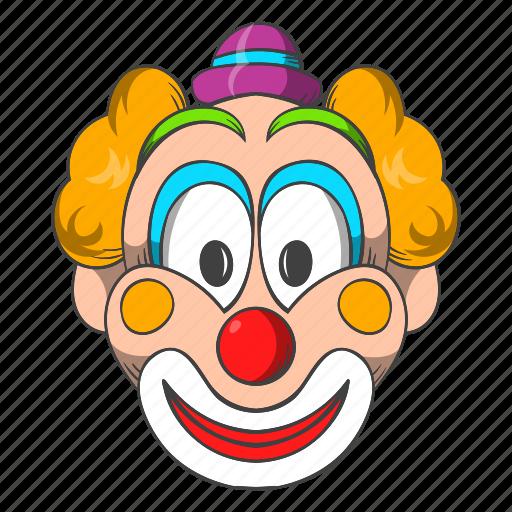 carnival, cartoon, circus, clown, costume, hat, head icon