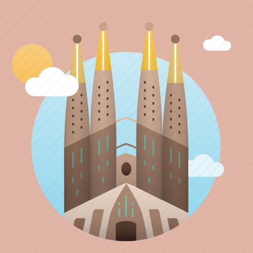 architecture, barcelona, cathedral, city, europe, gaudi, landmark, monument icon