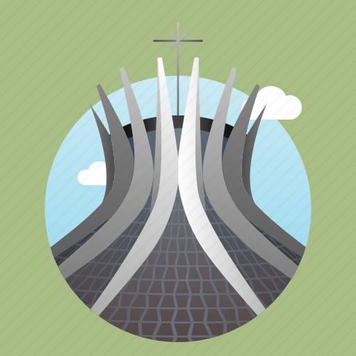 architecture, brasilia, brazil, cathedral, church, city, monument icon