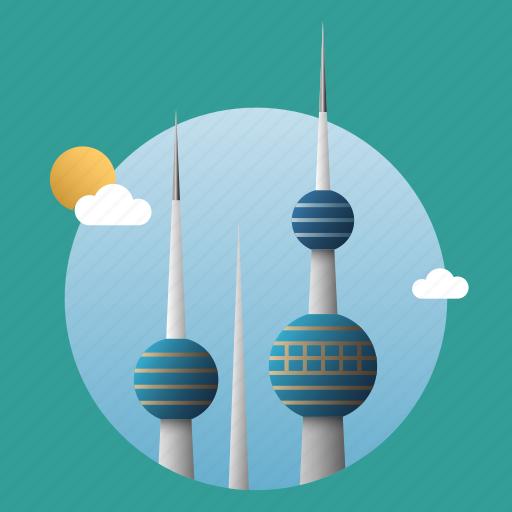 architecture, building, business, city, kuwait, landmark icon