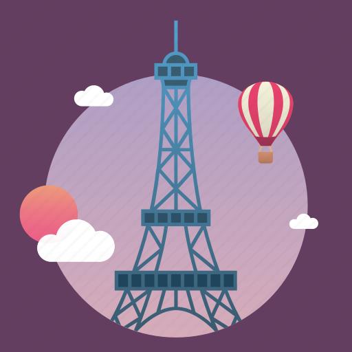 architecture, city, eiffel, europe, france, landmark, monument, paris, sunset, tower icon