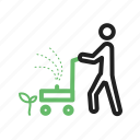 cutting, grass, lawn, lawnmower, mowing, people, work icon