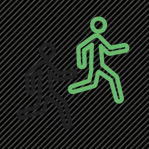 marathon, people, race, run, running, sport, track icon